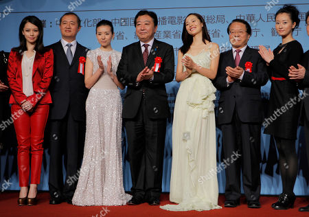 Vivian Hsu, Dong Jie, Jiang Yiyan, Lv Xingchen Japanese Prime Minister Yoshihiko Noda, fourth from left, poses with actresses, from left, Taiwan's Vivian Hsu, China's Dong Jie, Jiang Yiyan and Lv Xingchen, at the opening of the Chinese animation festival in Tokyo