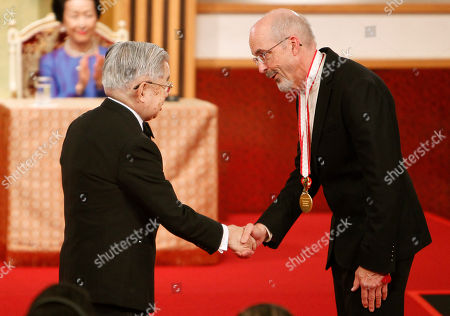 Bill Viola, Hitachi, Hanako Video artist Bill Viola, right, of the United States shakes hands with Prince Hitachi during an awarding ceremony of the Praemium Imperiale in Tokyo . Applauding in the background is Hitachi's wife Princess Hanako