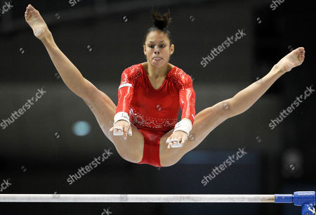 USA's Sabrina Vega performs on the uneven bars during the women's qualifying of the Artistic Gymnastics World Championships in Tokyo, Japan