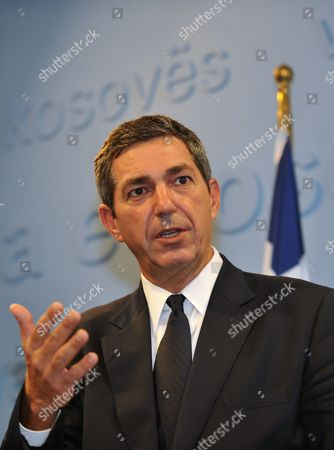 Stavros Lambrinidis Greek Foreign Minister, gestures during a press conference in Kosovo's capital Pristina on