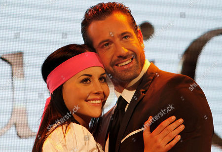 "Zuria Vega, Gabriel Soto Actress Zuria Vega, left, and actor Gabriel Soto, right, both from Mexico, part of the cast of the new soap opera ""Un refugio para el amor"" or ""A haven for love,"" the latest production of the Mexican TV network Televisa, pose for pictures during a presentation to the press in Mexico City"