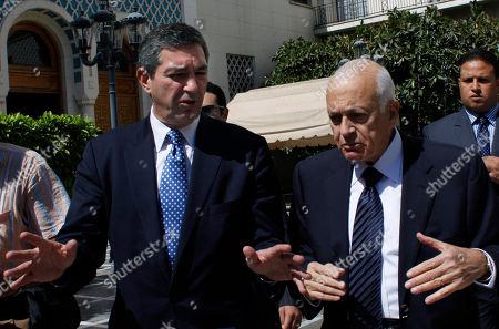 Stavros Lambrinidis, Nabil Elaraby Arab League Secretary General Nabil Elaraby, right talks with Greek Foreign Minister Stavros Lambrinidis after their meeting at his office in Cairo, Egypt