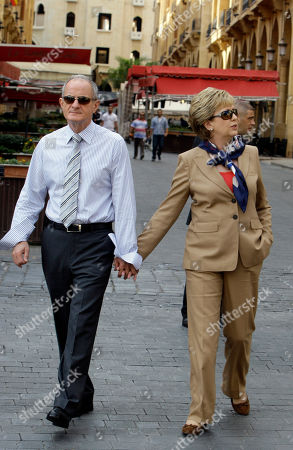 Stock Image of Mary McAleese, Martin McAleese Irish President Mary McAleese, right, with her husband Sen. Martin McAleese walk during a tour in Beirut, Lebanon, . McAlees arrived in Lebanon on Friday on a three-day visit to meet with Lebanese officials and to check on Irish soldiers serving with U.N. peacekeeping unit in south Lebanon