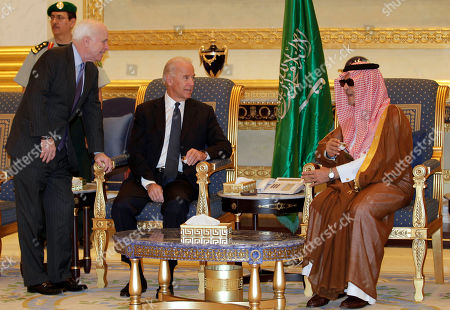 Joe Biden, Saud Al-Faisal, John McCain U.S. Vice President Joe Biden, center, and U.S. Sen. John McCain, right, offer their condolences on the death of the late Saudi Crown Prince Sultan bin Abdul-Aziz Al Saud to Saudi Foreign minister Prince Saud Al-Faisal, in Riyadh, Saudi Arabia, . Biden is leading an American delegation in the Saudi capital to offer condolences to King Abdullah after the death of the kingdom's second in line for the throne