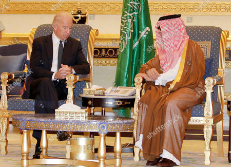 Joe Biden, Saud Al-Faisal U.S. Vice President Joe Biden, left, offers his condolences on the death of the late Saudi Crown Prince Sultan bin Abdul-Aziz Al Saud to Saudi Foreign minister Prince Saud Al-Faisal after arriving in Riyadh, Saudi Arabia, . Prince Sultan died abroad Saturday undergoing treatment for illness in New York. The death of the prince, who was in his 80s, opens questions about the succession in the critical, oil-rich U.S. ally