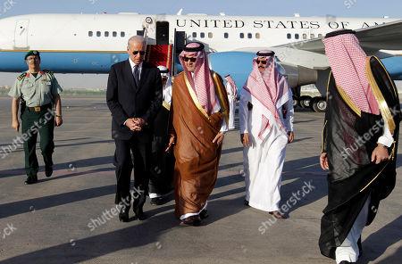 Joe Biden, Saud Al-Faisal U.S. Vice President Joe Biden, left, offers his condolences on the death of the late Saudi Crown Prince Sultan bin Abdul-Aziz Al Saud to Saudi Foreign minister Prince Saud Al-Faisal on his arrival to Riyadh airbase in Riyadh, Saudi Arabia, . Prince Sultan died abroad Saturday undergoing treatment for illness in New York. The death of the prince, who was in his 80s, opens questions about the succession in the critical, oil-rich U.S. ally