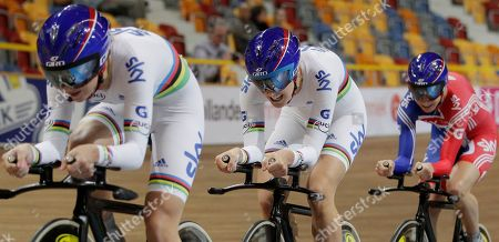 Britain's Laura Trott, left, Danielle King, center, and Joanna Roswell, right, compete during the women team pursuit qualifyers at the European Championships Track Cycling in Apeldoorn, eastern Netherlands