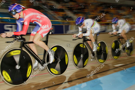 Britain's Joanna Roswell, Laura Trott and Danielle King, from left to right, compete during the women team pursuit qualifyers at the European Championships Track Cycling in Apeldoorn, eastern Netherlands