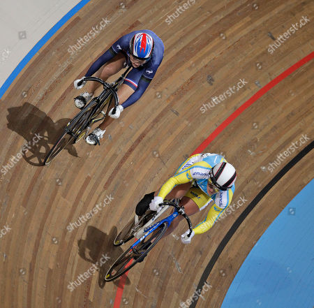 Clara Sanchez of France, top left, and Lyubov Shulika of the Ukraine, bottom right, compete during the semi finals of the women 200 meters time trial at the European Championships Track Cycling in Apeldoorn, eastern Netherlands