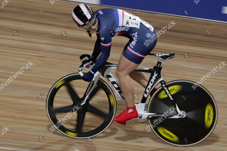 Sandie Clair of France competes during the women 200 meters time trial at the European Championships Track Cycling in Apeldoorn, eastern Netherlands