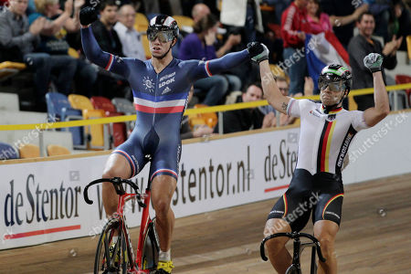 Gold medallist Kevin Sireau of France, left, and silver medallist Maximilian Levy of Germany celebrate after their men 200 meters time trial at the European Championships Track Cycling in Apeldoorn, eastern Netherlands