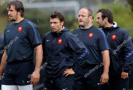 French rugby players from left Julien Pierre, Vincent Clerc, William Servat and Morgan Parra take part in a training session in Auckland, New Zealand, . France will play Wales in their Rugby World Cup semifinal match on Saturday, Oct. 15