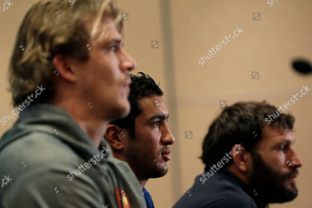 Aurelien Rougerie, Maxime Mermoz, Lionel Nallet France's Aurelien Rougerie, Maxime Mermoz and Lionel Nallet, left to right, attend a press conference in Auckland, New Zealand, . France will play New Zealand All Blacks in their final Rugby World Cup match on Sunday, Oct. 23