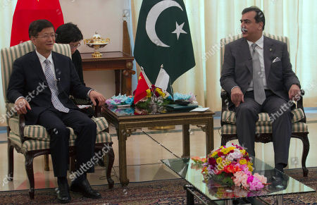 Stock Photo of Chinese Public Security Minister Meng Jianzhu, left, meets Pakistan's Prime Minister Yusuf Raza Gilani in Islamabad, Pakistan on . China's top security official is visiting Pakistan for talks focusing on increased cooperation against Chinese militants who have found sanctuary in the northwest of the country