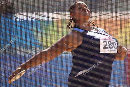 Stock Picture of Aretha Thurmond Aretha Thurmond, from the United States, prepares to release on her last attempt during the women's discus throw final at the Pan American Games in Guadalajara, Mexico, . Thurmond won the silver medal
