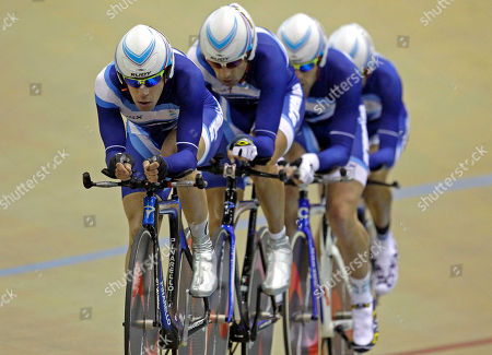 Argentina's Eduardo Sepulveda leads his teammates Walter Perez, Marcos Crespo and Maximiliano Almada in the cycling men's team pursuit qualifying event at Pan American Games in Guadalajara, Mexico