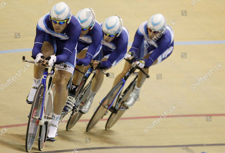 Argentina's Eduardo Sepulveda, Walter Perez, Marcos Crespo and Maximiliano Almada pedal to win bronze during the cycling men's pursuit event at Pan American Games in Guadalajara, Mexico
