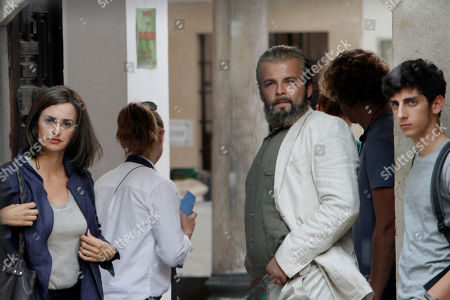 """Stock Picture of Penelope Cruz in Bosnia Oscar winning Spanish actress Penelope Cruz, left, and Bosnian actor Adnan Haskovic, 2nd right, prepare for a scene during the filming of their latest movie """"Venuto al mondo"""" (Into the world) in Sarajevo, Bosnia, on"""