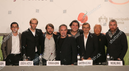 Jose Maria Aizega, Dan Barber, Rene Redzepi, Ferran Adria, Gaston Acurio, Michel Bras, Yukio Hattori, Alex Atala Members of the International Advisory Council of the Basque Culinary Center from left; chef Jose Maria Aizega of Spain, chef Dan Barber of the U.S, chef Rene Redzepi of Denmark, chef Ferran Adria of Spain, chef Gaston Acurio of Peru, chef Michel Bras of France, chef Yukio Hattori of Japan and chef Alex Atala of Brazil, pose tfor a photo after a news conference in Lima, Peru