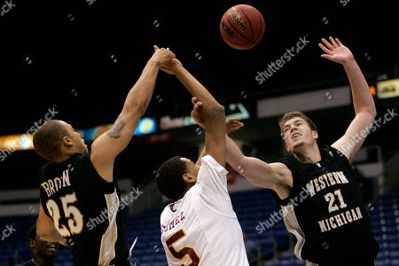 Stock Picture of Josh Gomez, David Brown, Shayne Whittington Iona's Josh Gomez, center, battles for a rebound with Western Michigan's David Brown, left, and Shayne Whittington during an NCAA basketball game in San Juan, Puerto Rico