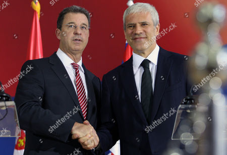 Serge Brammertz, Boris Tadic Chief prosecutor of the U.N. war crimes tribunal in the Hague, Serge Brammertz, left, shakes hands with Serbian President Boris Tadic in Belgrade, Serbia, . Brammertz is on an official visit to Belgrade