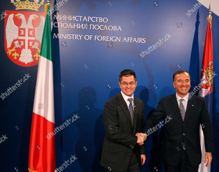 Franco Frattini, Vuk Jeremic Italian Foreign Minister Franco Frattini, right, shakes hands with his Serbian counterpart Vuk Jeremic, in Belgrade, Serbia, . Frattini is on an official visit to Belgrade