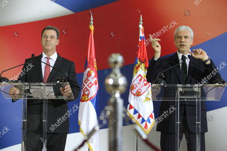 Serge Brammertz, Boris Tadic Chief prosecutor of the U.N. war crimes tribunal in the Hague, Serge Brammertz, left, looks on as Serbian President Boris Tadic gestures while speaking at a press conference in Belgrade, Serbia, . Brammertz is on an official visit to Belgrade