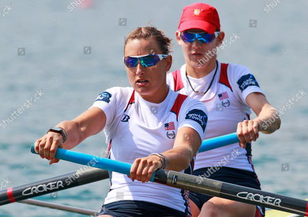 Katherine Glessner, Caryn Davies Katherine Glessner, left and Caryn Davies from the U.S. compete in the Women's Pair semifinals at the Rowing World Championships in Bled, Slovenia