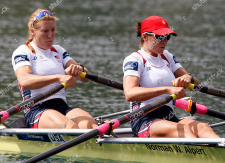 Sarah Trowbridge, Kathleen Bertko Team of United States, Sarah Trowbridge, left and Kathleen Bertko compete in the Women's Double Sculls Repechage event at the World Rowing Championships in Bled, Slovenia
