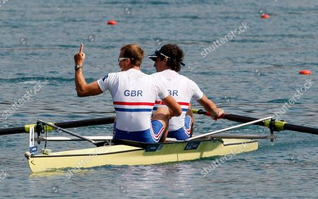 Peter Chambers, Kieren Emery Great Britain's Peter Chambers, left and Kieren Emery react after the Men's Lightweight Pair Semifinal event at The World Rowing Championship in Bled, Slovenia