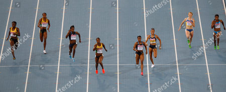 From left, Jamaica's Kerron Stewart, Jamaica's Sherone Simpson, USA's Shalonda Solomon, Jamaica's Veronica Campbell-Brown, USA's Carmelita Jeter, USA's Allyson Felix, Ukraine's Hrystyna Stuy and Bahama's Debbie Ferguson-McKenzie compete in the Women's 200m final at the World Athletics Championships in Daegu, South Korea