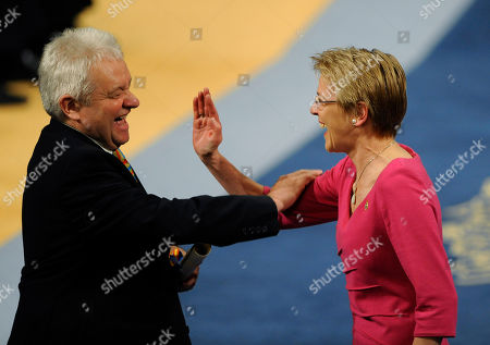 Paul Nurse, Julie Maxton Sir Paul Nurse, left, misses a high-five hand clap with Julie Maxton after receiving the Communication and Humanites Prince of Asturias prize in Oviedo, Spain . The award is one of eight of Spain's prestigious Asturias prizes, presented by Crown Prince Felipe and granted each year in various categories
