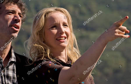 Julie Delpy, Eric Elmosnino French actress and film director, Julie Delpy, right, gestures beside her French co-start Eric Elmosnino, during a photo call to promote the film 'Le Skylab', at the 59th San Sebastian Film Festival in San Sebastian northern Spain