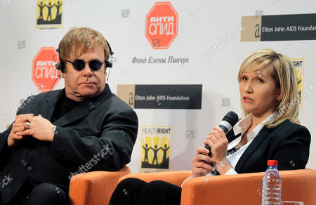 Elton John, Elena Pinchuk Elena Pinchuk, Ukrainian business woman and sponsor of ANTIAIDS Foundation (EPAAF) speaks during a joint press with British singer Elton John in Kiev, Ukraine, . The founders of the Elton John Foundation (EJAF) and sponsor Elena Pinchuk, ANTIAIDS Foundation (EPAAF), presented to journalists their second joint charitable project. Its goal is to help girls and women who spent most of their lives in the street, to have access to HIV testing and to receive social, medical and legal assistance