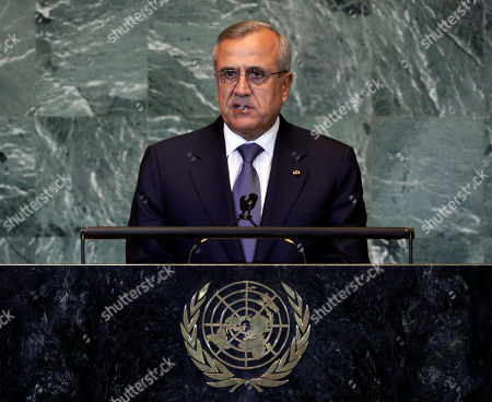 Stock Picture of Michel Sleiman Michel Suleiman, President of the Lebanon, addresses the 66th session of the United Nations General Assembly