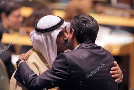 Stock Picture of Mahmoud Ahmadinejad, Nasser Al Mohammed Al Ahmed Al-Jaber Al Sabah Kuwait Prime Minister Sheikh Nasser Al Mohammed Al Ahmed Al-Jaber Al Sabah, left, exchanges greetings with Iran's President Mahmoud Ahmadinejad during the 66th session of the United Nations General Assembly
