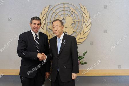 Ban Ki-moon, Stavros Lambrinidis United Nations Secretary-General Ban Ki-moon, right, meets Stavros Lambrinidis, Minister for Foreign Affairs of Greece, at the United Nations headquarters