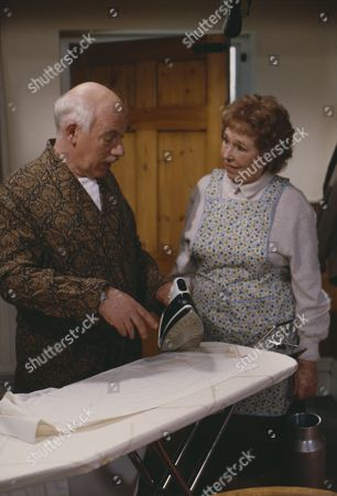Arthur Pentelow (as Henry Wilks) and Sheila Mercier (as Annie Sugden)  (Episode 1557 - 15th May 1991)