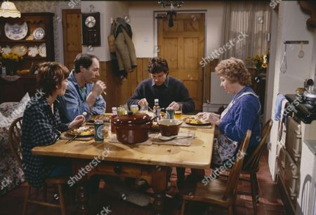 Clive Hornby (as Jack Sugden), Frazer Hines (as Joe Sugden), Arthur Pentelow (as Henry Wilks) and Sheila Mercier (as Annie Sugden)  (Episode 1557 - 15th May 1991)