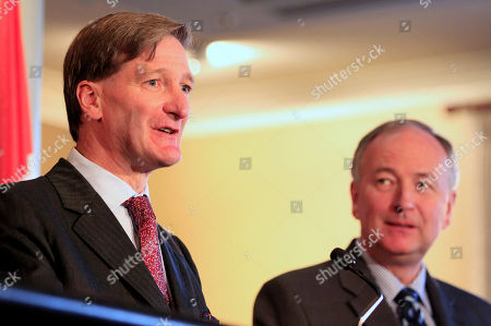 """Dominic Grieve, Rob Nicholson British Attorney General Dominic Grieve, left, makes a comment as Canada's Attorney General Rob Nicholson attends a briefing for the the third """"Quintet"""" meeting of Attorneys General in Sydney, . The 2011 Quintet meeting will focus on joint and cooperative actions that can be taken to address the growth of international cyber threats"""
