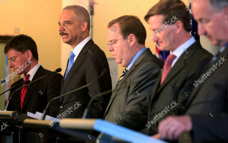 """Chris Finlayson, Eric Holder, Robert McClelland, Dominic Grieve, Rob Nicholson U.S. Attorney General Eric Holder, second left, comments as other Attorneys General Chris Finlayson, left, of New Zealand, Robert McClelland of Australia, Dominic Grieve of United Kingdom, second right, and Rob Nicholson of Canada, right, attend a briefing for the the third """"Quintet"""" meeting of Attorneys General in Sydney, . The 2011 Quintet meeting will focus on joint and cooperative actions that can be taken to address the growth of international cyber threats"""