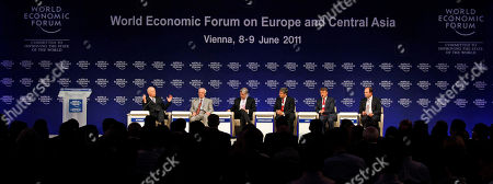 Klaus Schwab, Mykola Azarov, Michael Rake, Michael Spindelegger, Herman Gref, Andrew Thompson Klaus Schwab, Founder and Executive Chairman of the WEF, from left to right, Mykola Azarov, Prime Minister of Ukraine, Michael Rake, Chairman BT Group and Co-Chairman of the WEF, Michael Spindelegger, Vice Chancellor and Federal Minister of Austria, Herman Gref, CEO of Russia's Sberbank and Andrew Thompson, CEO of Proteus Biomedical from the U.S., attend the opening session of the World Economic Forum on Europe and Central Asia, WEF, in Vienna, Austria, on . The Forum takes place from June 8 to 9, 2011 in Austria's capital