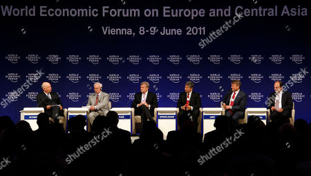 Klaus Schwab, Mykola Azarov, Michael Rake, Michael Spindelegger, Herman Gref, Andrew Thompson Klaus Schwab, Founder and Executiv Chairman of the WEF, from left to right, Mykola Azarov, Prime Minister of Ukraine, Michael Rake, Chairman BT Group and Co-Chairman of the WEF, Michael Spindelegger, Vice Chancellor and Federal Minister of Austria, Herman Gref, CEO of Russia's Sberbank and Andrew Thompson, CEO of Proteus Biomedical from the U.S., attend the opening session of the World Economic Forum on Europe and Central Asia, WEF, in Vienna, Austria, on . The Forum takes place from June 8 to 9, 2011in Austria's capital