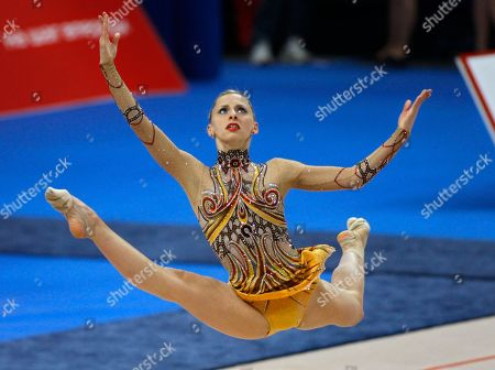 Caroline Weber Caroline Weber, of Austria, performs with a ball during her apparatus program at the 27th European Rhythmic Gymnastics Championship in Minsk, Belarus