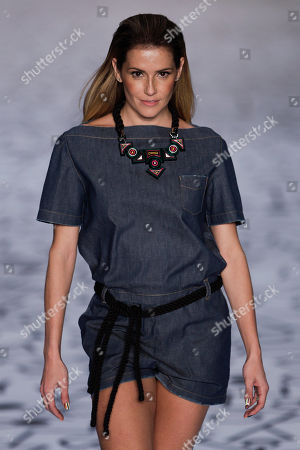 Stock Image of Deborah Secco Brazilian actress Deborah Secco wears a creation by TNG during the Fashion Rio Summer 2012 collection in Rio de Janeiro, Brazil