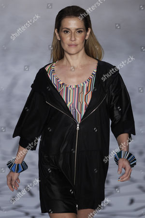 Stock Image of Deborah Secco Brazilian actress Deborah Secco wears a creation by TNG during the Fashion Rio Summer 2012 collection in Rio de Janeiro, Brazil