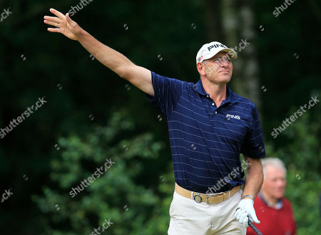 Peter Fowler Australia's Peter Fowler reacts as he tees off on the sixth hole during the third round of Senior British Open Championship at Walton Heath Golf Club in Walton On The Hill, England