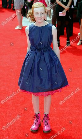 Cast member and actress Scarlett Stitt arrives for the world premiere of the first British movie for children to be filmed in 3D, 'Horrid Henry: The Movie' at BFI (British Film Institute) Southbank in London