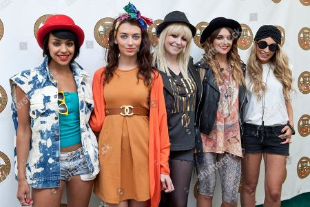 Sian Charlesworth, Jessica Agombar, Bianca Claxton, Lauren Deegan, Emily Biggs From left to right, Sian Charlesworth, Jessica Agombar, Bianca Claxton, Lauren Deegan, Emily Biggs, of British band Parade, pose backstage at the Isle of Wight music festival