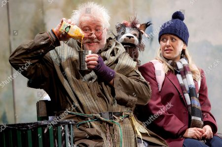 Stock Picture of Peter Edbrook, Lotte Gilmore British actors Peter Edbrook, as Mr Stink, and Lotte Gilmore, as Chloe, perform a scene from Mr Stink, a musical adaption based on the children's novel by David Walliams